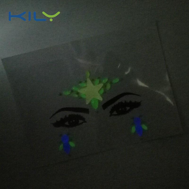Glow in dark face gems sticker UV body jewels for Halloween KB-2203