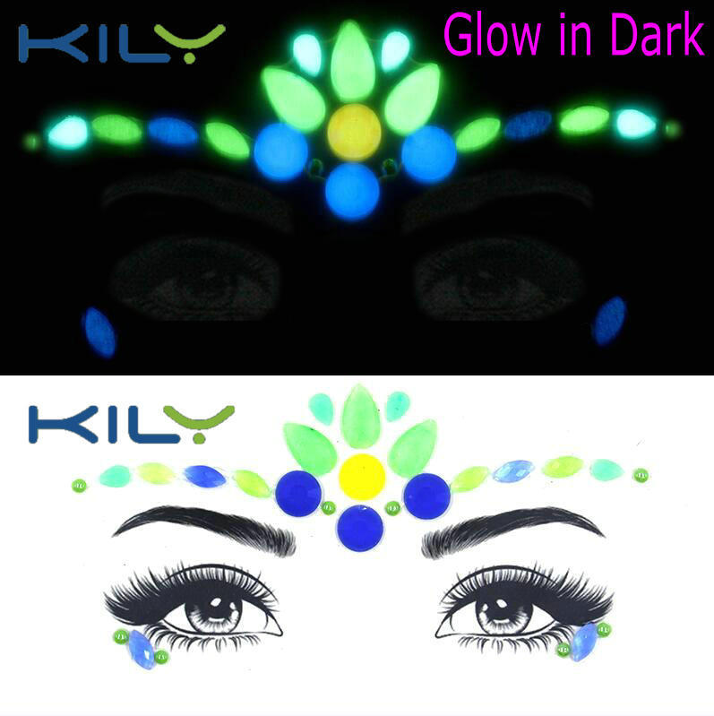 Halloween glow in dark face gems