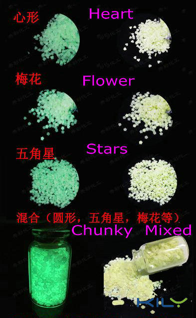 Halloween glow in dark glitter Hearts Stars Flowers Glitter for Festival