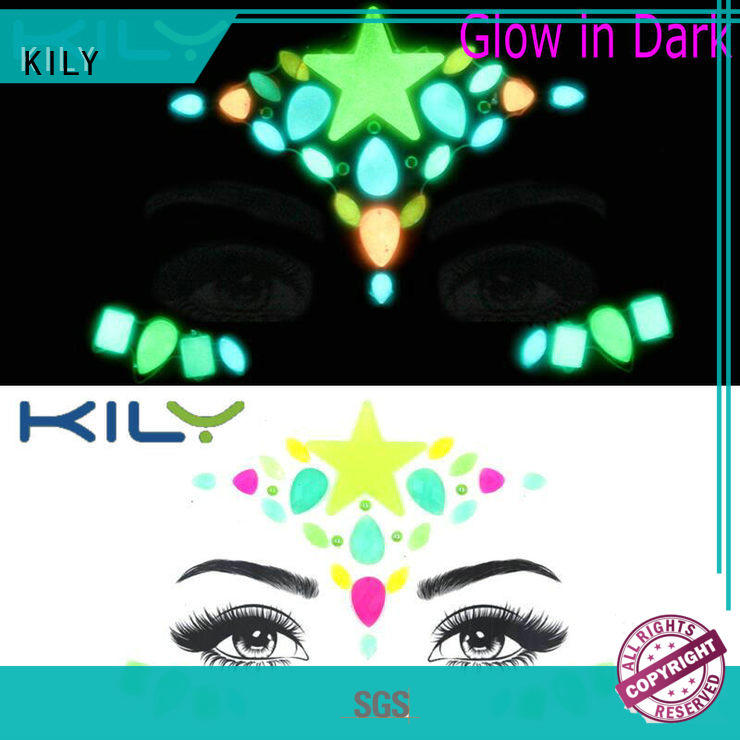 KILY professional glow in dark face gems for Halloween