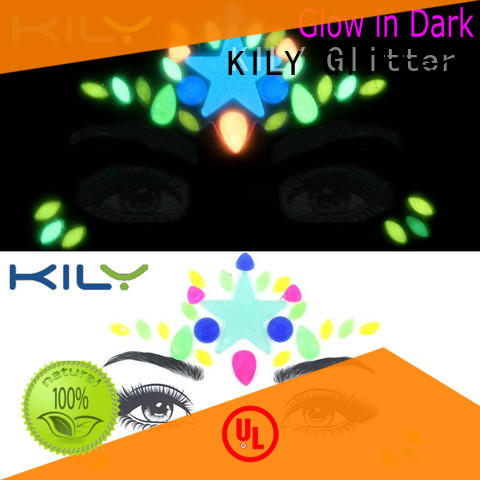 KILY professional glow in dark face gems wholesale for music festival