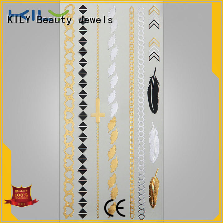 KILY temporary gold & silver metallic tattoo manufacturer for music festival