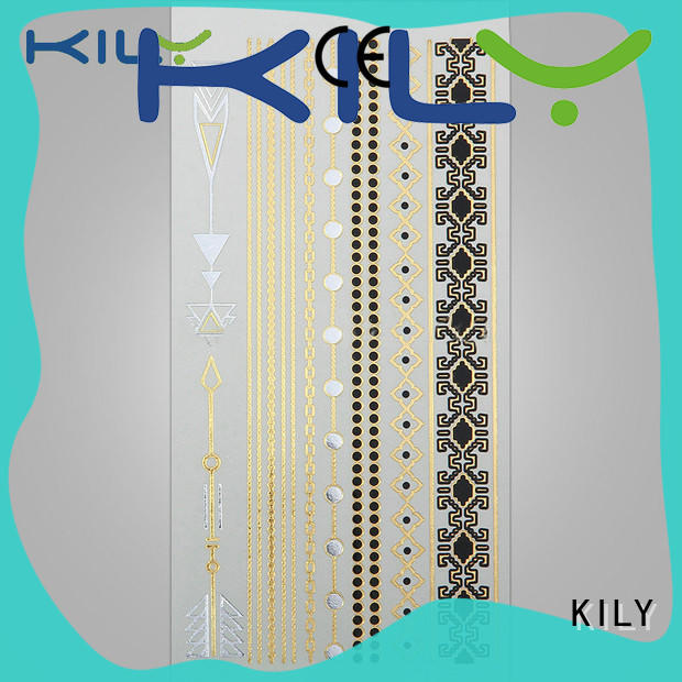 KILY foil gold silver metallic tattoo series for party