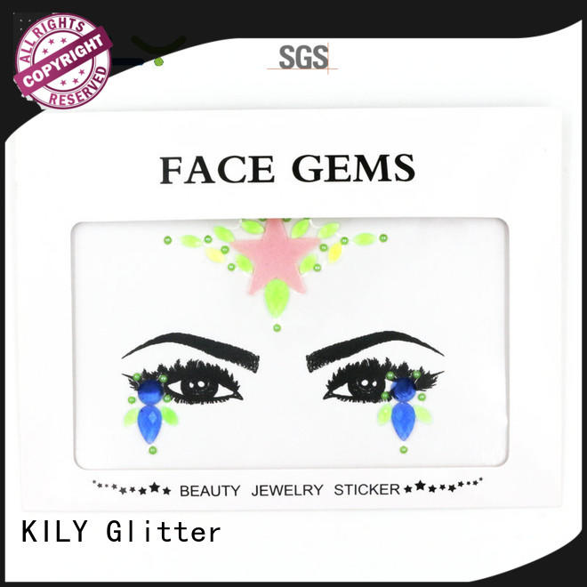 KILY eco-friendly glow in dark face gems supplier for fashion show