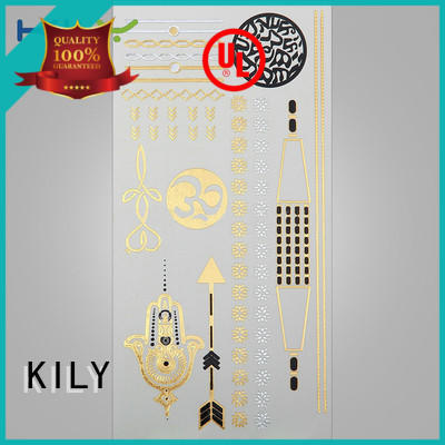 KILY gold & silver metallic tattoo manufacturer for sport meeting