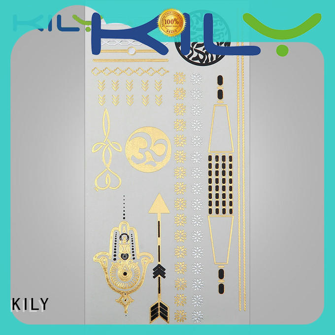 KILY non-toxic gold & silver metallic tattoo for beach